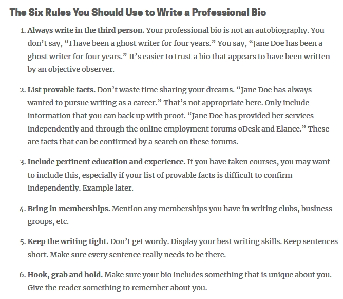 the six rules you should use to write a professinal bio